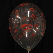 Balloons Latex All Over Hot Lips Pink on Clear Pk10