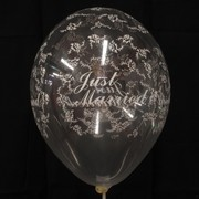 Balloons Latex All Over Just Married Clear Pk50