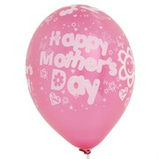 Balloons Latex Metallic Happy Mothers Day All Over Assorted Colours Pk10