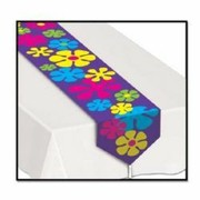Retro Flowers Plastic Table Runner (1.8m) Pk 1