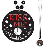 Black New Year Necklace - Kiss Me It's Midnight Somewhere Pk 1