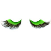 Eyelashes With Glue Dramatic Green & Black Pk2
