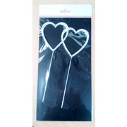Double Heart Diamante Cake Topper Decoration Pk 1