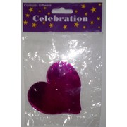 Cerise Hot Pink Heart Foil Cardboard Cutouts (80mm) Pk 12
