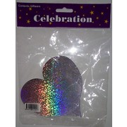 Holographic Silver Heart Foil Cardboard Cutouts (80mm) Pk 12