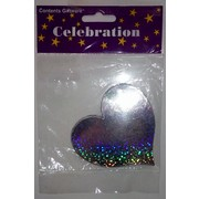 Holographic Silver Heart Foil Cardboard Cutouts (120mm) Pk 12