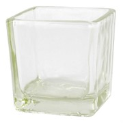 Candle Holder Cube Small Clear Pk1