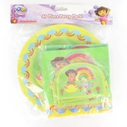 Dora Party Pack for 8 (8 Plates, 8 Hats, 8 Loot Bags & 16 Napkins )Pk 40