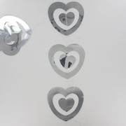 Garland Foil Double Heart Drop Silver Pk1