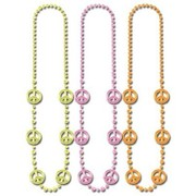 Fluro Peace Sign Beaded Necklace (Assorted Colours) Pk 3