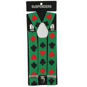 Adult Casino Party Suspenders - Green with Card Suit Pk1