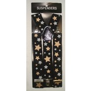 Black Suspenders with Gold & Silver Stars (Adult) Pk 1