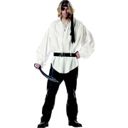 Adult Costume - White Pirate Buccaneer Shirt with Belt Pk 1