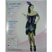 Black and Purple Saloon Girl Adult Costume (One Size Fits Most) Pk 1