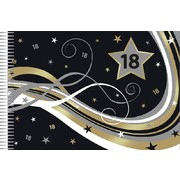 18th Birthday Keepsake Book (Black, Gold & Silver Stars) Pk 1