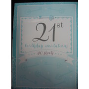 Blue Key 21st Birthday Invitation Pad Pk 20