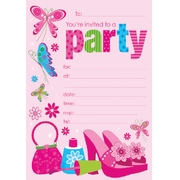 Tween Girl Party Invitation Pad Pk 20