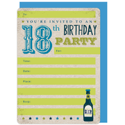 18th Birthday Beer Invitations & Envelopes Pk 16