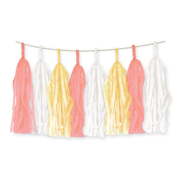 Peach, Yellow & White Tassel Garland (15 Tassels) Pk 1
