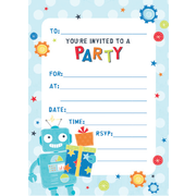 Robot Party Invitation Pad Pk 20