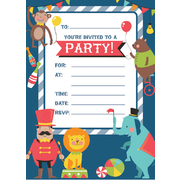 Circus Animals Party Invitation Pad Pk 20