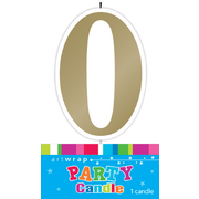 #0 Gold Party Candle Pk 1