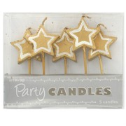 Gold Stars Party Candles Pk5