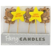 Happy Birthday Teddies Party Candles Pk5