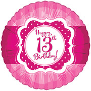 Happy 13th Birthday Pink Foil Balloon (18in/46cm) Pk 1