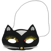 Black Cat Party Mask with Gold & Silver Trim Pk 1