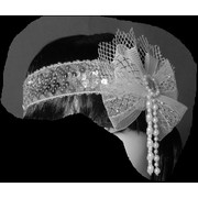 Silver Glitter Flapper Headband with Net Bow & Pearls Pk 1