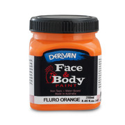 Fluoro Orange Face and Body Paint (250ml Jar) Pk 1
