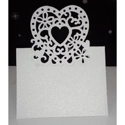 Pearl White Hearts Place Cards Pk 20