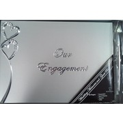 Our Engagement Silver Guest Book with Diamante Hearts Pk 1