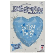 Baby Shower 18in Foil Heart Balloon - Baby Boy Pk1