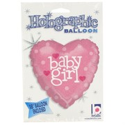 Baby Shower 18in Heart Foil Balloon - Baby Girl Pk1