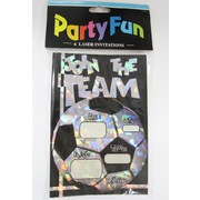 Holographic Soccer Party Invitations Pk 6
