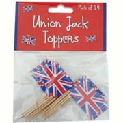 Union Jack Cupcake Topper Picks Pk 24