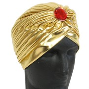 Gold Turban With Red Stone Pk 1