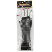 80's Party Gloves -  Long Fingerless Black Fishnet Pk2