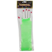 80's Party Gloves - Long Fingerless Green Fishnet Pk2