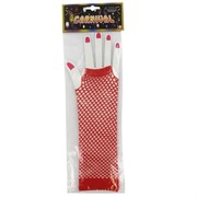 80's Party Gloves - Long Fingerless Red Fishnet Pk2