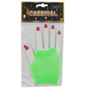 Gloves Fishnet Short Fingerless Green Pk2