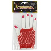 80's Party Gloves - Short Fingerless Red Fishnet Pk2