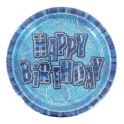 Happy Birthday Party Plates - Blue Glitz Pk6