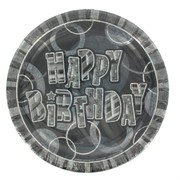 Happy Birthday Party Plates - Black Glitz Pk6