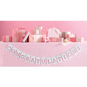 White Congratulations Banner Pk 1 (Banner Only)