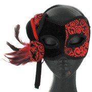 Black & Red Japanese Masquerade Mask with Feathers Pk 1