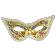 Mask Mardi Gras Eye Design Gold & Blue Pk1