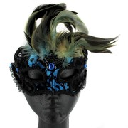 Black & Blue Lace Masquerade Mask With Feathers Pk 1